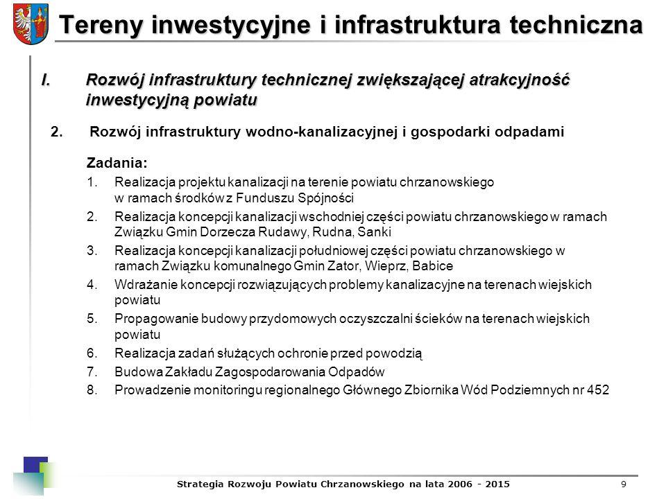 Strategia Rozwoju Powiatu Chrzanowskiego na lata 2006 - 20159 Tereny inwestycyjne i infrastruktura techniczna 2.Rozwój infrastruktury wodno-kanalizacy
