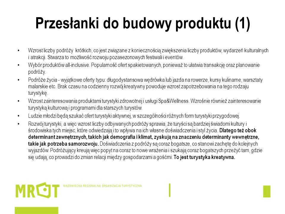 Przesłanki do budowy produktu (1) Wzrost liczby podróży krótkich, co jest związane z koniecznością zwiększenia liczby produktów, wydarzeń kulturalnych