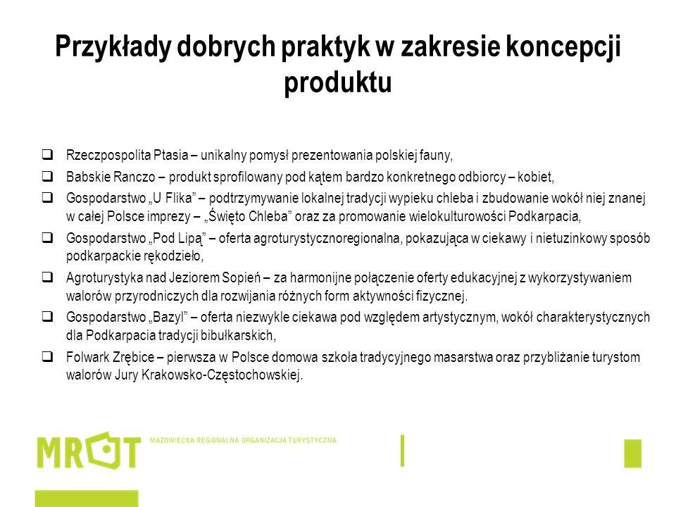 Przykłady dobrych praktyk w zakresie koncepcji produktu Rzeczpospolita Ptasia – unikalny pomysł prezentowania polskiej fauny, Babskie Ranczo – produkt