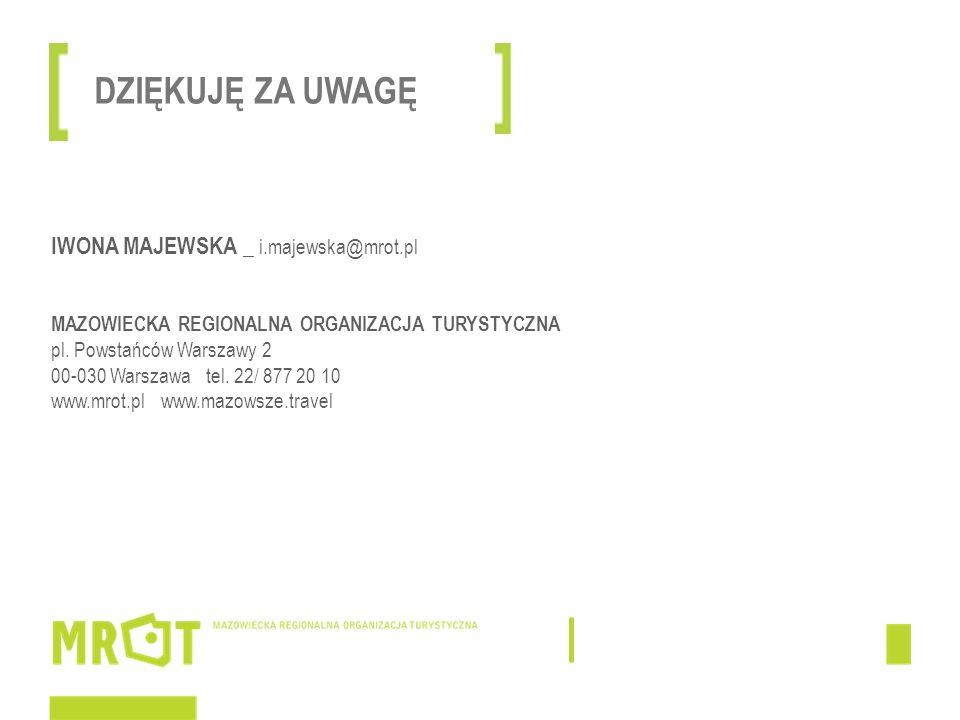 IWONA MAJEWSKA _ i.majewska@mrot.pl MAZOWIECKA REGIONALNA ORGANIZACJA TURYSTYCZNA pl. Powstańców Warszawy 2 00-030 Warszawa tel. 22/ 877 20 10 www.mro