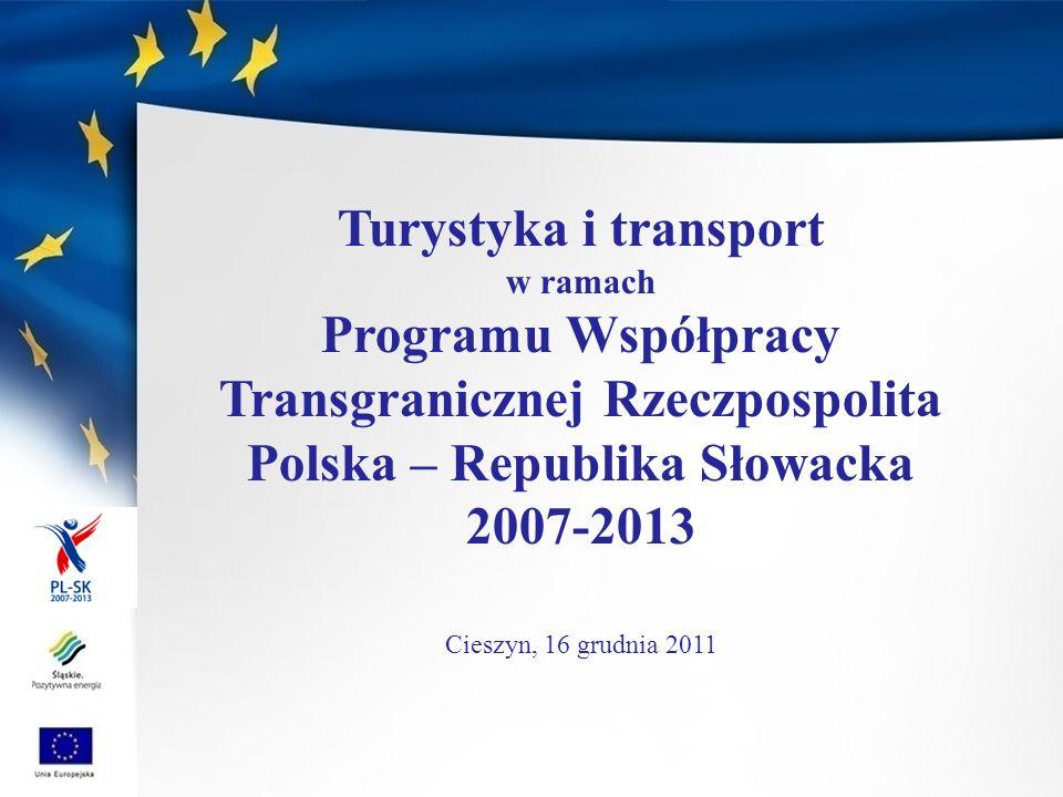 Program Współpracy Transgranicznej Rzeczpospolita Polska- Republika Słowacka Intensyfikacja opartej na partnerstwie współpracy polsko-słowackiej, która sprzyjać będzie trwałemu rozwojowi obszaru przygranicznego Alokacja środków z EFRR ponad 157 mln ; II nabory, 342 złożone wnioski na kwotę ponad 432 mln ; Zatwierdzono ponad 90 projektów (infrastruktura komunikacyjna i transportowa, ochrona środowiska, turystyka, dziedzictwo kulturowe i przyrodnicze, projekty sieciowe); W 25 zatwierdzonych projektach uczestniczy 32 partnerów z województwa śląskiego; Kwota dofinansowania dla projektów z udziałem partnerów z województwa śląskiego: ponad 31 mln ; ponadto w województwie śląskim za pośrednictwem Euroregionu Beskidy realizowanych jest wiele mikroprojektów.