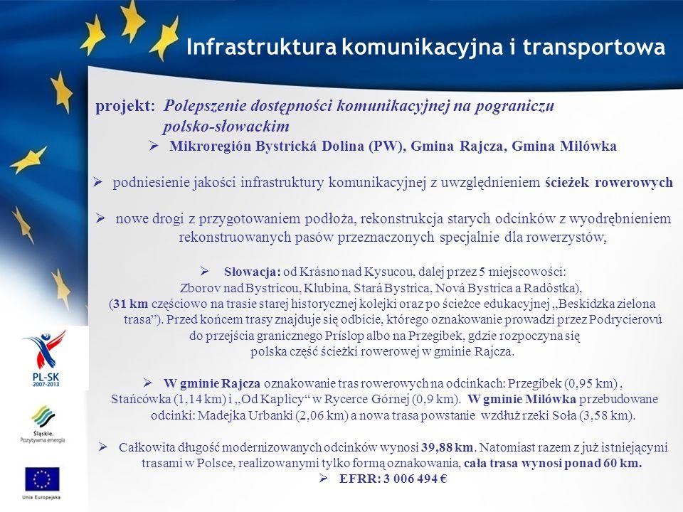 Mikroregión Bystrická Dolina (PW), Gmina Rajcza, Gmina Milówka podniesienie jakości infrastruktury komunikacyjnej z uwzględnieniem ścieżek rowerowych