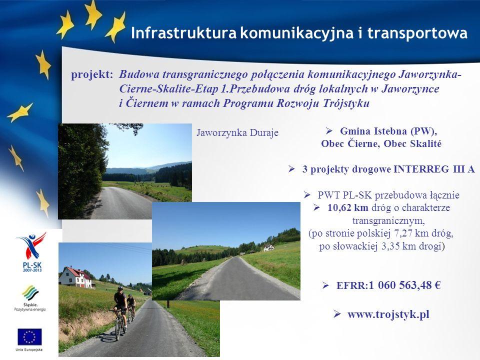 Powiat Żywiecki (PW) Żyliński Kraj Samorządowy przebudowa 6,2 km drogi powiatowej Nr 1445 S Sól - Słanice (od skrzyżowania z drogą powiatową nr 1447 S Rajcza - Sól –Zwardoń do końca drogi) wraz z wykonaniem murów oporowych, po stronie słowackiej przebudowa 5,24 km drogi wojewódzkiej nr III/011059 Oščadnica - Lalík wraz z rekonstrukcją 4 mostów.