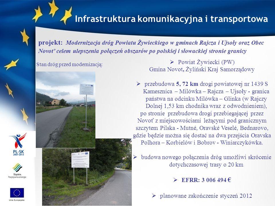 Mikroregión Bystrická Dolina (PW), Gmina Rajcza, Gmina Milówka podniesienie jakości infrastruktury komunikacyjnej z uwzględnieniem ścieżek rowerowych nowe drogi z przygotowaniem podłoża, rekonstrukcja starych odcinków z wyodrębnieniem rekonstruowanych pasów przeznaczonych specjalnie dla rowerzystów, Słowacja: od Krásno nad Kysucou, dalej przez 5 miejscowości: Zborov nad Bystricou, Klubina, Stará Bystrica, Nová Bystrica a Radôstka), (31 km częściowo na trasie starej historycznej kolejki oraz po ścieżce edukacyjnej Beskidzka zielona trasa).