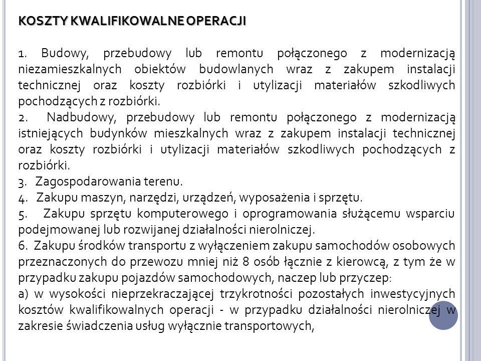 KOSZTY KWALIFIKOWALNE OPERACJI 1.