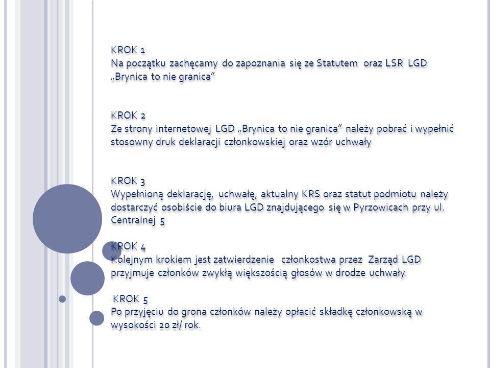 KROK 1 Na początku zachęcamy do zapoznania się ze Statutem oraz LSR LGD Brynica to nie granica KROK 2 Ze strony internetowej LGD Brynica to nie granica należy pobrać i wypełnić stosowny druk deklaracji członkowskiej oraz wzór uchwały KROK 3 Wypełnioną deklarację, uchwałę, aktualny KRS oraz statut podmiotu należy dostarczyć osobiście do biura LGD znajdującego się w Pyrzowicach przy ul.