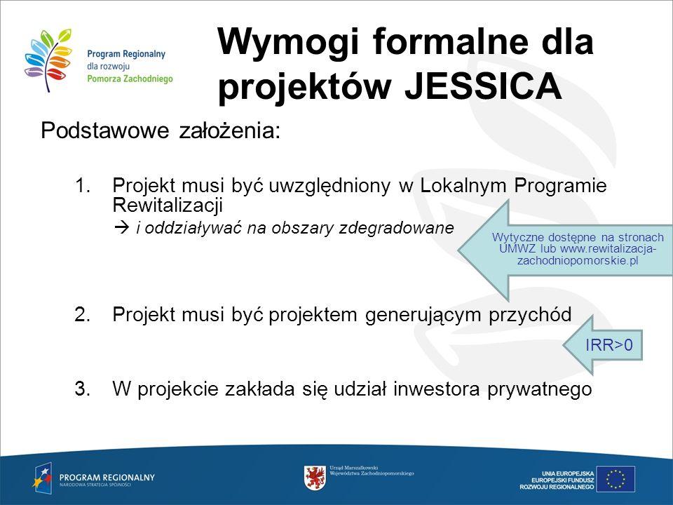 Wymogi formalne dla projektów JESSICA Podstawowe założenia: 1.Projekt musi być uwzględniony w Lokalnym Programie Rewitalizacji i oddziaływać na obszar