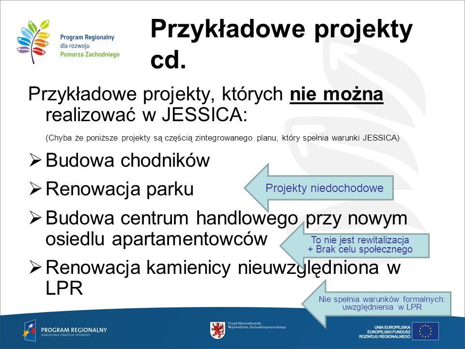 Przykładowe projekty cd. Przykładowe projekty, których nie można realizować w JESSICA: (Chyba że poniższe projekty są częścią zintegrowanego planu, kt