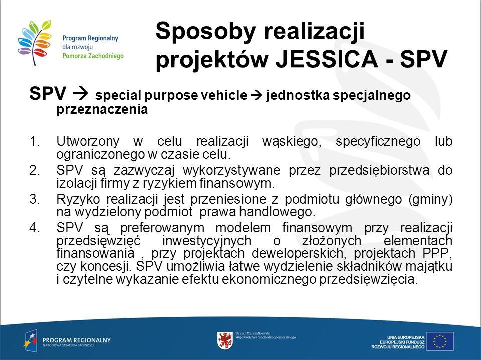Sposoby realizacji projektów JESSICA - SPV SPV special purpose vehicle jednostka specjalnego przeznaczenia 1.Utworzony w celu realizacji wąskiego, spe