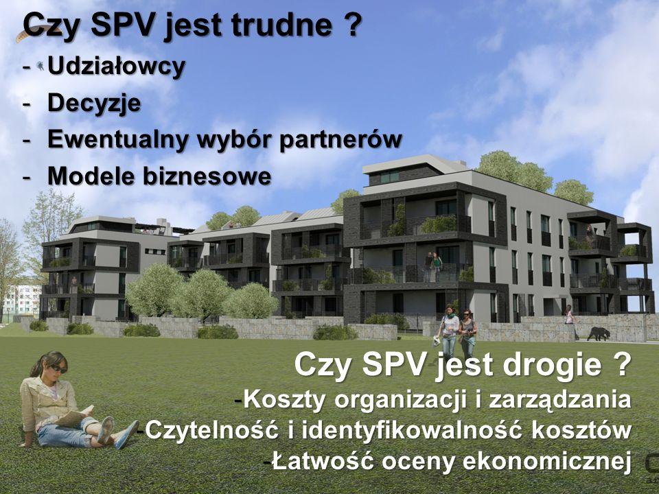 Czy SPV jest trudne ? -Udziałowcy -Decyzje -Ewentualny wybór partnerów -Modele biznesowe Czy SPV jest drogie ? -Koszty organizacji i zarządzania -Czyt