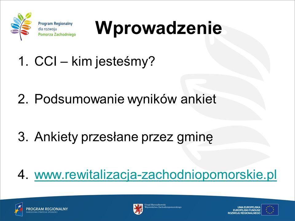 Wprowadzenie 1.CCI – kim jesteśmy? 2.Podsumowanie wyników ankiet 3.Ankiety przesłane przez gminę 4.www.rewitalizacja-zachodniopomorskie.plwww.rewitali