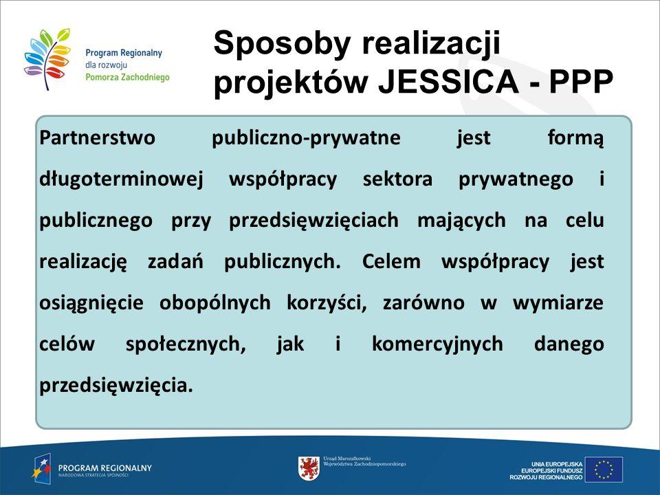 Sposoby realizacji projektów JESSICA - PPP Partnerstwo publiczno-prywatne jest formą długoterminowej współpracy sektora prywatnego i publicznego przy