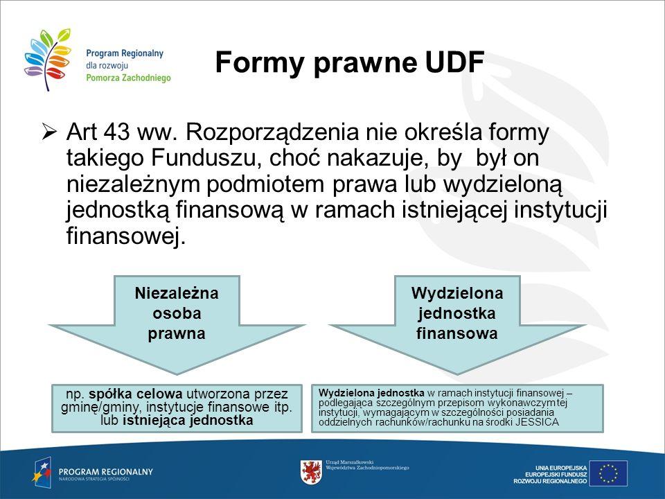 Formy prawne UDF Art 43 ww. Rozporządzenia nie określa formy takiego Funduszu, choć nakazuje, by był on niezależnym podmiotem prawa lub wydzieloną jed