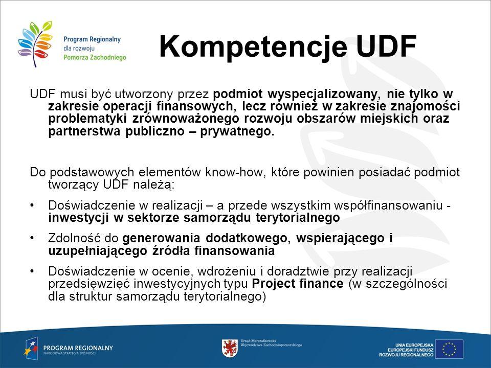 Kompetencje UDF UDF musi być utworzony przez podmiot wyspecjalizowany, nie tylko w zakresie operacji finansowych, lecz również w zakresie znajomości p