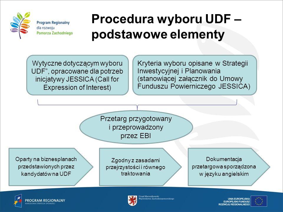 Procedura wyboru UDF – podstawowe elementy Wytyczne dotyczącym wyboru UDF, opracowane dla potrzeb inicjatywy JESSICA (Call for Expression of Interest)