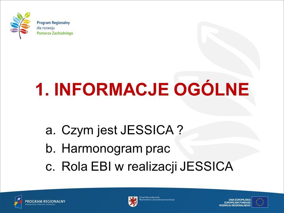 Rola EBI w realizacji JESSICA Tworzy Fundusz Powierniczy JESSICA w województwie zachodniopomorskim - zarządza funduszami powierniczymi w oparciu o szczegółowe regulacje prawne Pełni wiodącą rolę przy w promowaniu instrumentów Jessica Doradza oraz wdraża najlepsze praktyki w oparciu o posiadany know-how w zakresie finansowania projektów rewitalizacyjnych Wspiera proces w zakresie rozwiązywania kwestii horyzontalnych Oferuje dodatkowe finansowanie w formie kredytów oraz inwestycji w fundusze rozwoju obszarów miejskich Przeprowadza konkurs na UDF