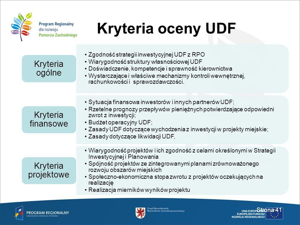 Kryteria oceny UDF Strona 41 Zgodność strategii inwestycyjnej UDF z RPO Wiarygodność struktury własnościowej UDF Doświadczenie, kompetencje i sprawnoś