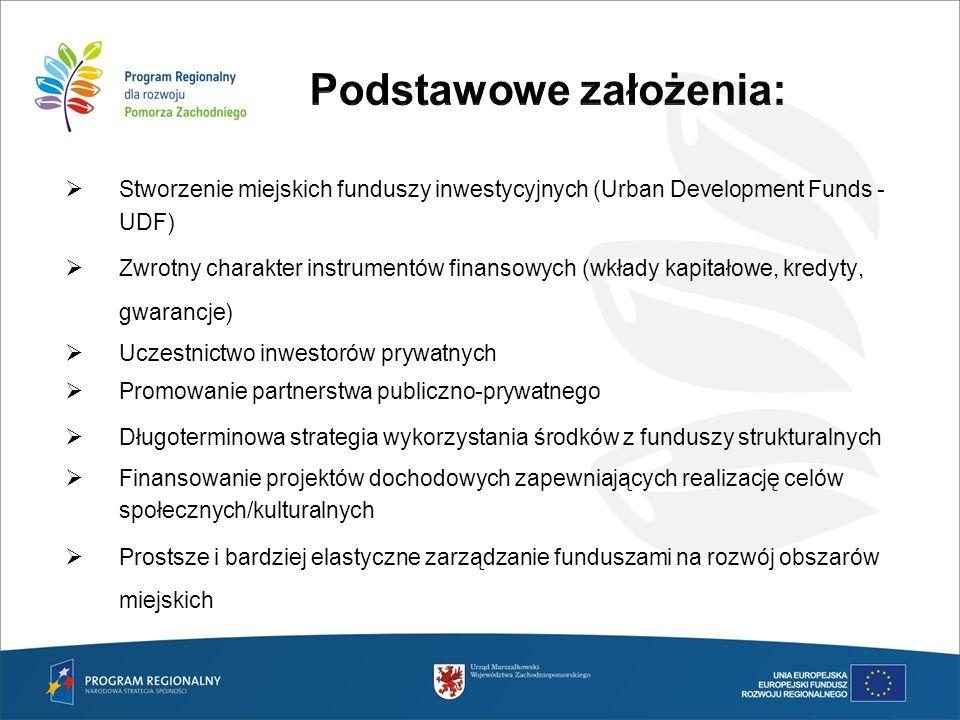 Kompetencje UDF UDF musi być utworzony przez podmiot wyspecjalizowany, nie tylko w zakresie operacji finansowych, lecz również w zakresie znajomości problematyki zrównoważonego rozwoju obszarów miejskich oraz partnerstwa publiczno – prywatnego.