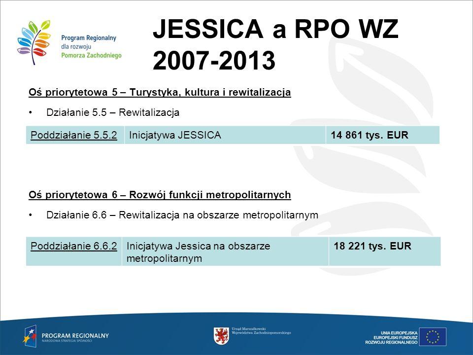 JESSICA a RPO WZ 2007-2013 Oś priorytetowa 5 – Turystyka, kultura i rewitalizacja Działanie 5.5 – Rewitalizacja Oś priorytetowa 6 – Rozwój funkcji met