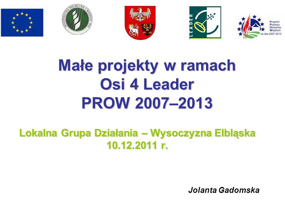 Małe projekty w ramach Osi 4 Leader PROW 2007–2013 Lokalna Grupa Działania – Wysoczyzna Elbląska 10.12.2011 r.