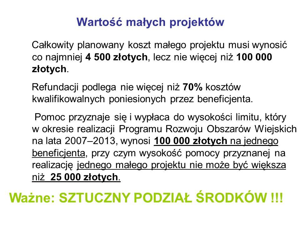 Finansowanie i realizacja małych projektów Mały projekt nie może być finansowany z udziałem innych środków publicznych, z wyłączeniem przypadku współfinansowania: a) z Funduszu Kościelnego lub, b) ze środków własnych jednostek samorządu terytorialnego, zgodnie z ustawą z dnia 30 czerwca 2005 r.