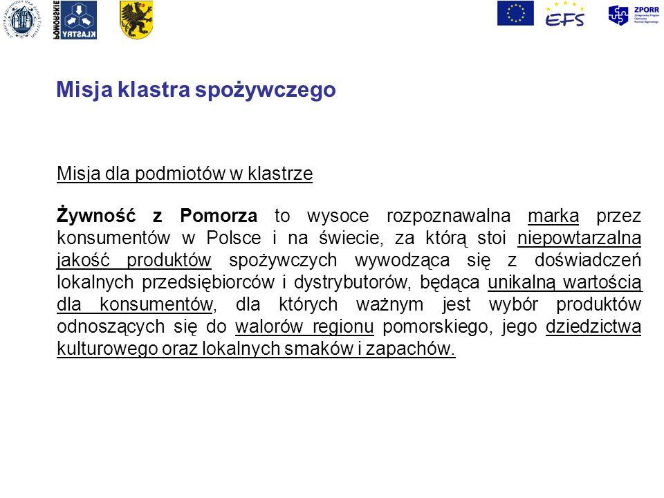 Misja klastra spożywczego Misja dla podmiotów w klastrze Żywność z Pomorza to wysoce rozpoznawalna marka przez konsumentów w Polsce i na świecie, za k