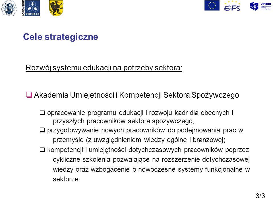 Cele strategiczne Rozwój systemu edukacji na potrzeby sektora: Akademia Umiejętności i Kompetencji Sektora Spożywczego opracowanie programu edukacji i