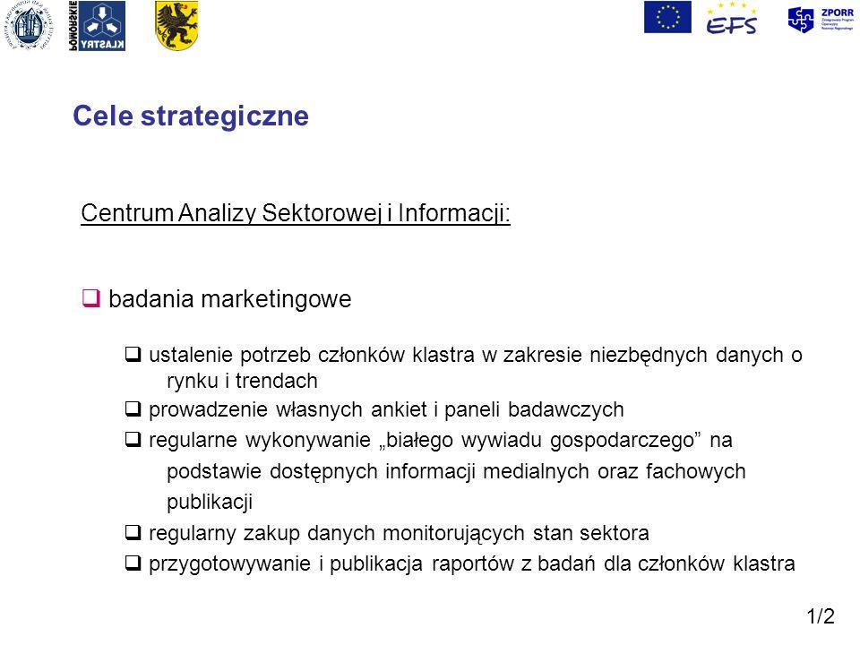 Cele strategiczne Centrum Analizy Sektorowej i Informacji: badania marketingowe ustalenie potrzeb członków klastra w zakresie niezbędnych danych o ryn