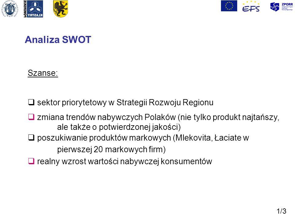 Analiza SWOT Szanse: sektor priorytetowy w Strategii Rozwoju Regionu zmiana trendów nabywczych Polaków (nie tylko produkt najtańszy, ale także o potwi