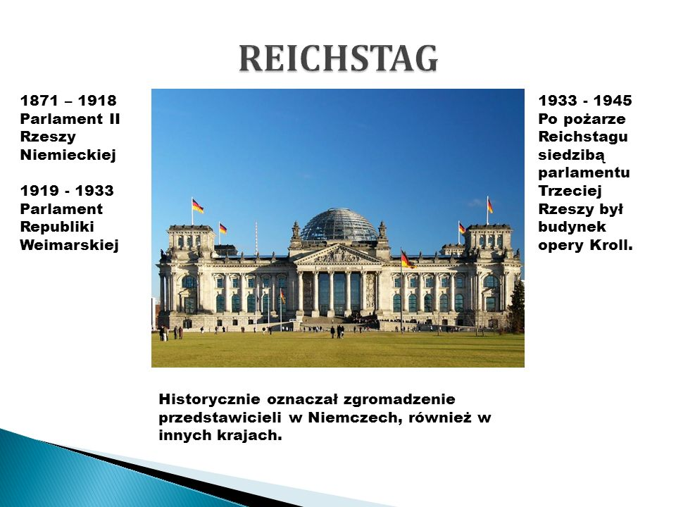 1871 – 1918 Parlament II Rzeszy Niemieckiej 1919 - 1933 Parlament Republiki Weimarskiej 1933 - 1945 Po pożarze Reichstagu siedzibą parlamentu Trzeciej Rzeszy był budynek opery Kroll.