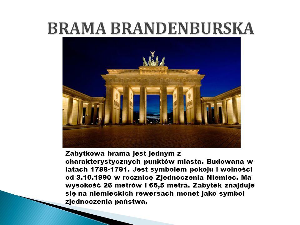Zabytkowa brama jest jednym z charakterystycznych punktów miasta. Budowana w latach 1788-1791. Jest symbolem pokoju i wolności od 3.10.1990 w rocznicę