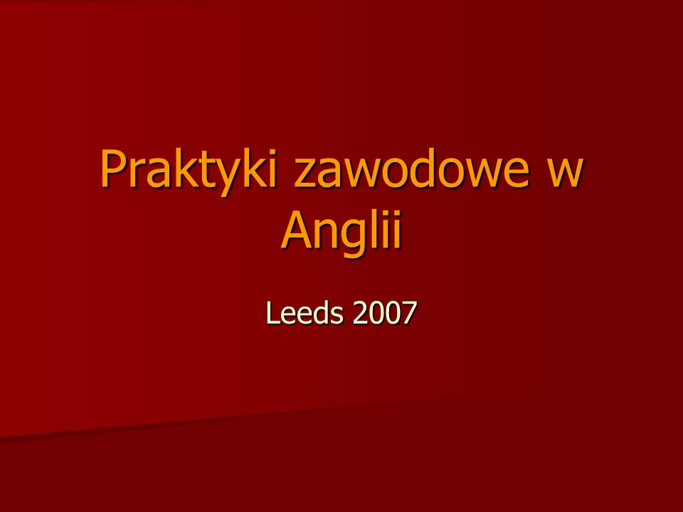 Praktyki zawodowe w Anglii Leeds 2007