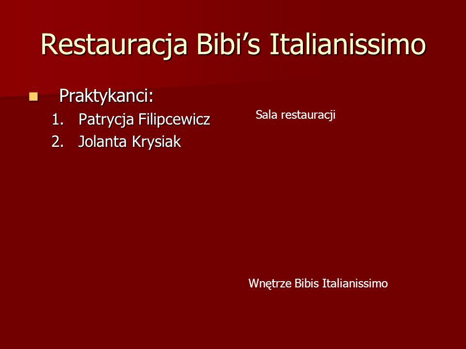 Restauracja Bibis Italianissimo Praktykanci: Praktykanci: 1.Patrycja Filipcewicz 2.Jolanta Krysiak Sala restauracji Wnętrze Bibis Italianissimo