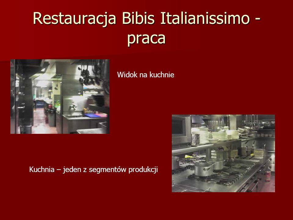 Restauracja Bibis Italianissimo - praca Widok na kuchnie Kuchnia – jeden z segmentów produkcji