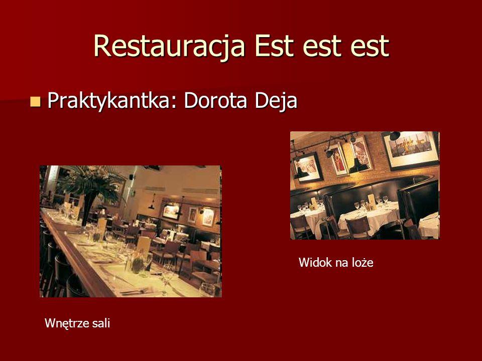 Restauracja Est est est Praktykantka: Dorota Deja Praktykantka: Dorota Deja Wnętrze sali Widok na loże