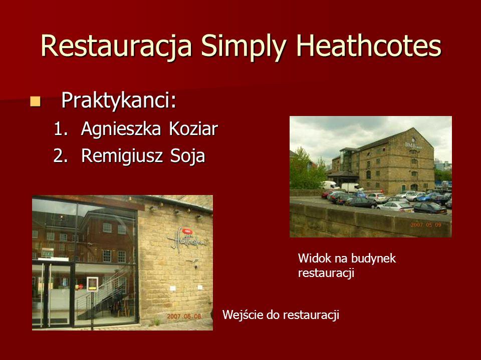 Restauracja Simply Heathcotes Praktykanci: Praktykanci: 1.Agnieszka Koziar 2.Remigiusz Soja Widok na budynek restauracji Wejście do restauracji