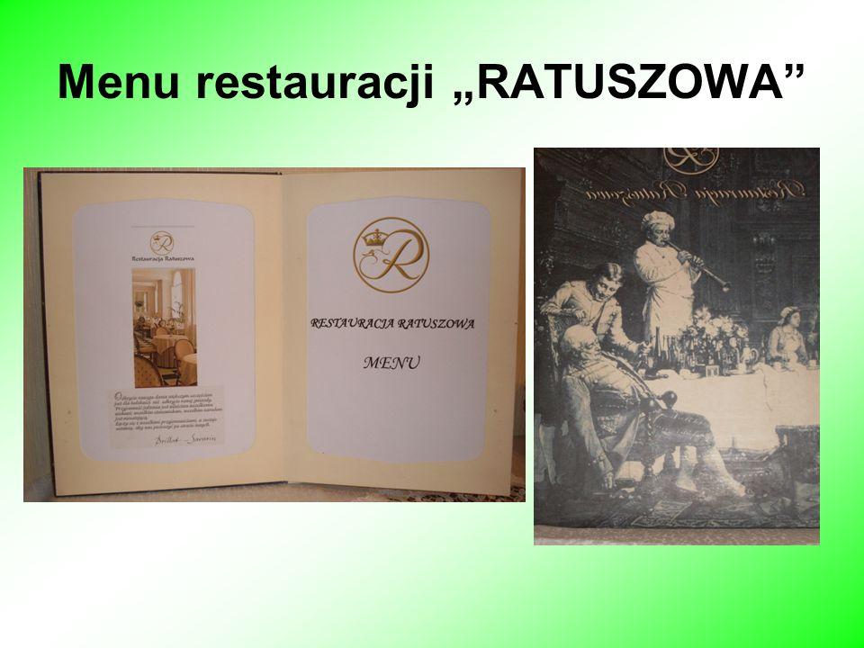 Menu restauracji RATUSZOWA