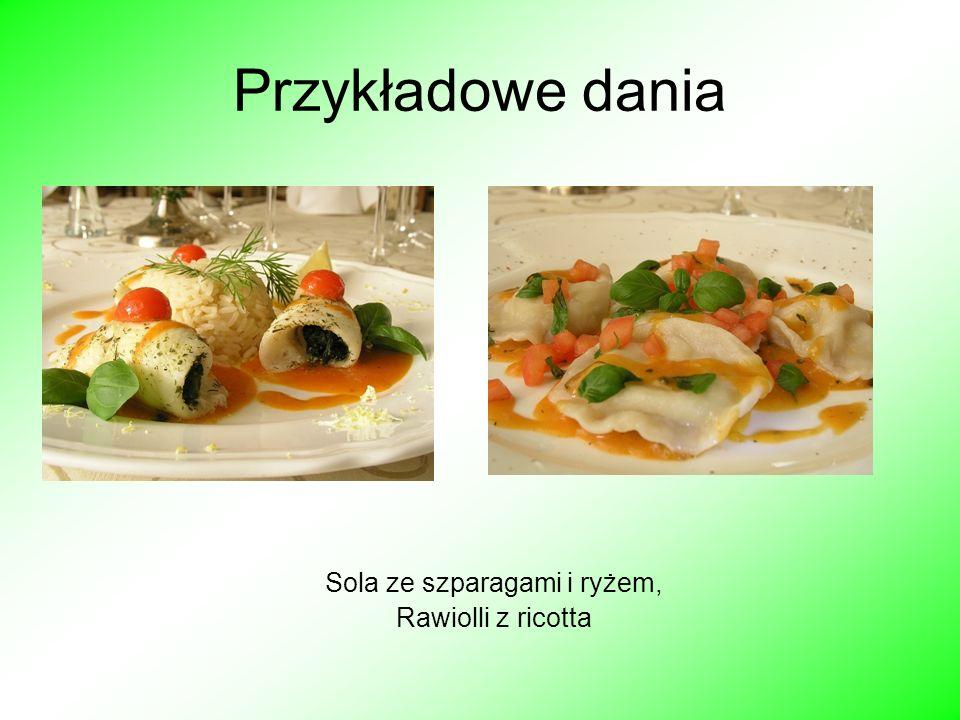 Przykładowe dania Sola ze szparagami i ryżem, Rawiolli z ricotta