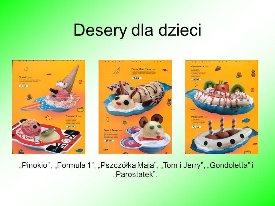 Desery dla dzieci Pinokio, Formuła 1, Pszczółka Maja, Tom i Jerry, Gondoletta i Parostatek.