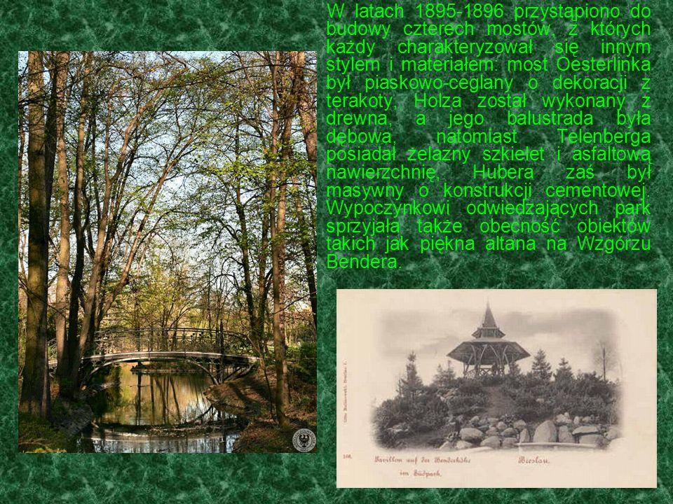 W latach 1895-1896 przystąpiono do budowy czterech mostów, z których każdy charakteryzował się innym stylem i materiałem: most Oesterlinka był piaskow