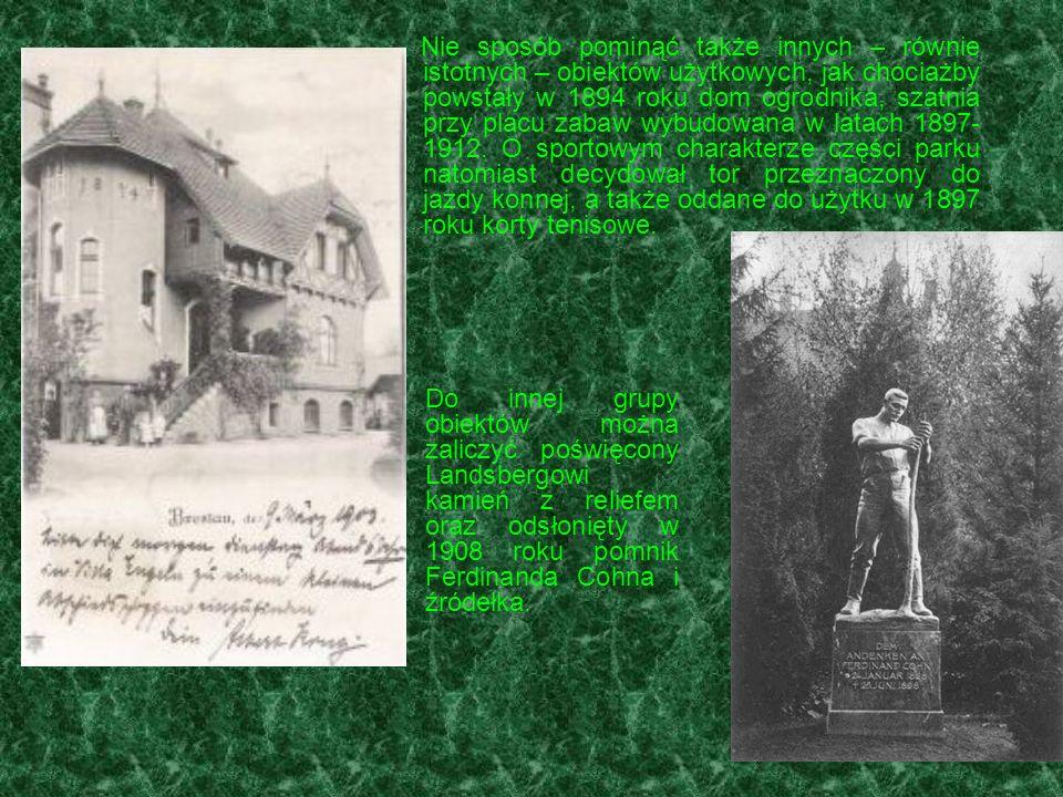 Nie sposób pominąć także innych – równie istotnych – obiektów użytkowych, jak chociażby powstały w 1894 roku dom ogrodnika, szatnia przy placu zabaw w