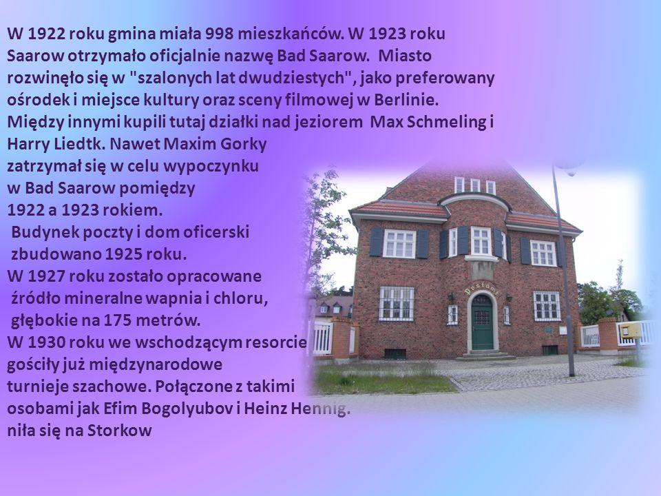 W 1922 roku gmina miała 998 mieszkańców. W 1923 roku Saarow otrzymało oficjalnie nazwę Bad Saarow.