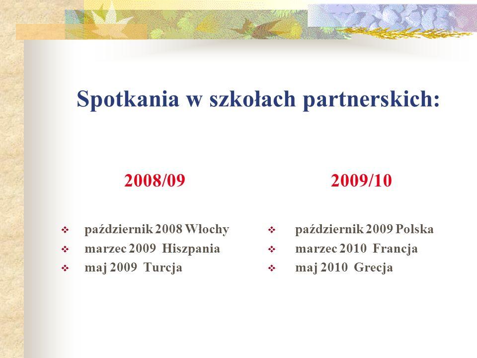 Spotkania w szkołach partnerskich: 2008/09 październik 2008 Włochy marzec 2009 Hiszpania maj 2009 Turcja 2009/10 październik 2009 Polska marzec 2010 Francja maj 2010 Grecja