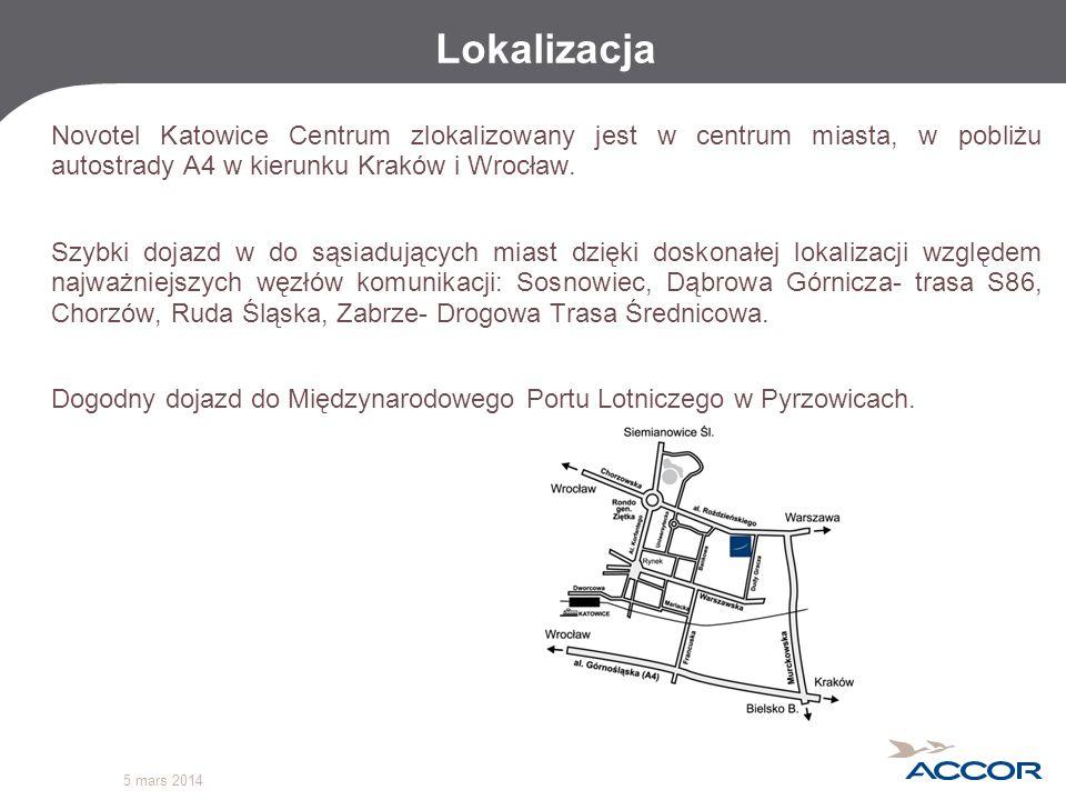 5 mars 2014 Lokalizacja Novotel Katowice Centrum zlokalizowany jest w centrum miasta, w pobliżu autostrady A4 w kierunku Kraków i Wrocław. Szybki doja