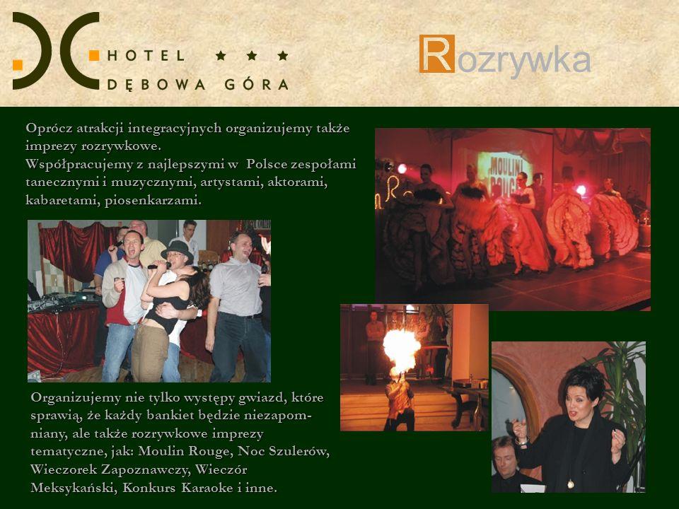 ozrywka Oprócz atrakcji integracyjnych organizujemy także imprezy rozrywkowe. Współpracujemy z najlepszymi w Polsce zespołami tanecznymi i muzycznymi,