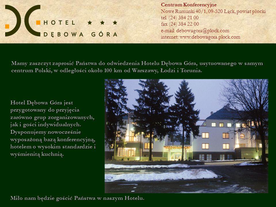 Hotel Dębowa Góra położony jest w niedalekiej odległości od Płocka nad jeziorem Górskim, na terenie Gostynińsko- Włocławskiego Parku Krajobrazowego, który jest jednym z największych kompleksów leśnych Niziny Mazowieckiej.