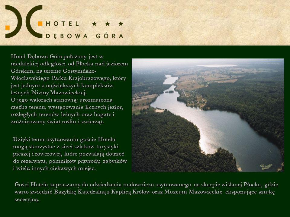 Hotel Dębowa Góra położony jest w niedalekiej odległości od Płocka nad jeziorem Górskim, na terenie Gostynińsko- Włocławskiego Parku Krajobrazowego, k