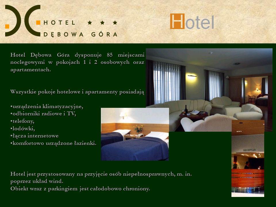 Hotel Dębowa Góra dysponuje 85 miejscami noclegowymi w pokojach 1 i 2 osobowych oraz apartamentach. Wszystkie pokoje hotelowe i apartamenty posiadają