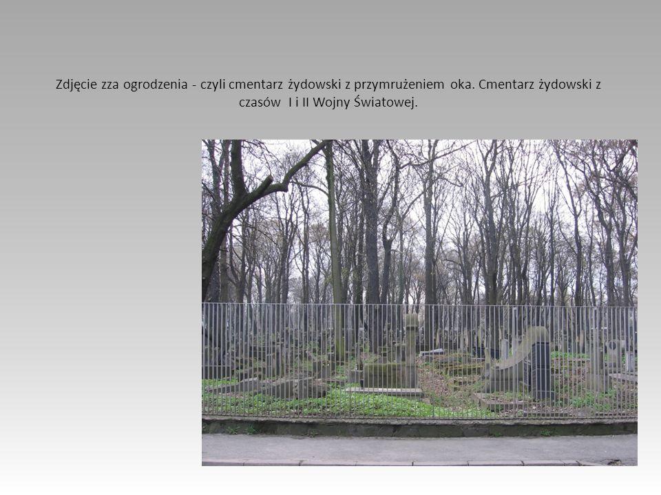 Zdjęcie zza ogrodzenia - czyli cmentarz żydowski z przymrużeniem oka. Cmentarz żydowski z czasów I i II Wojny Światowej.