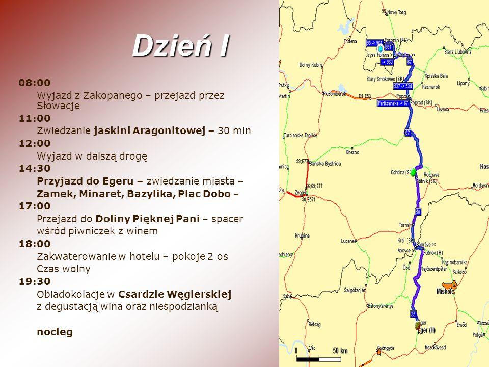 Dzień I 08:00 Wyjazd z Zakopanego – przejazd przez Słowacje 11:00 Zwiedzanie jaskini Aragonitowej – 30 min 12:00 Wyjazd w dalszą drogę 14:30 Przyjazd